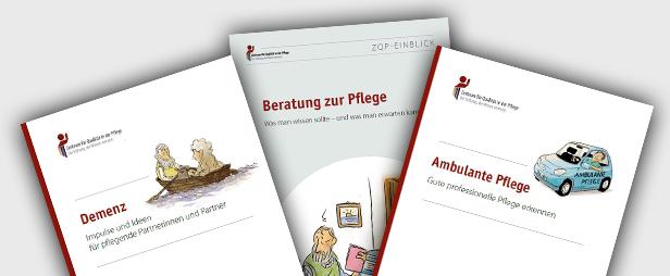 Titelbilder der Ratgeber Demenz, Ambulante Pflege und des Einblicks Beratung zur Pflege