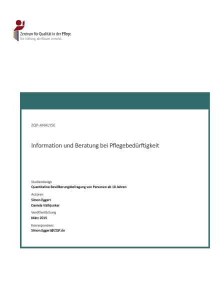 Titelblatt der Analyse Information und Beratung bei Pflegebedürftigkeit