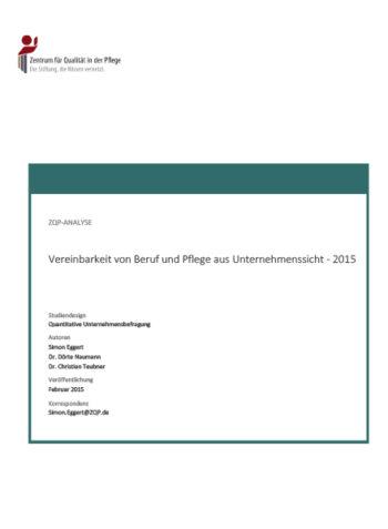 Titelblatt Analyse Vereinbarkeit von Beruf und Pflege aus Unternehmenssicht