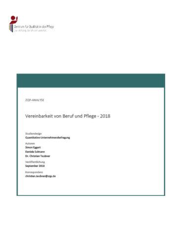 Titelblatt der Analyse Vereinbarkeit von Beruf und Pflege - 2018