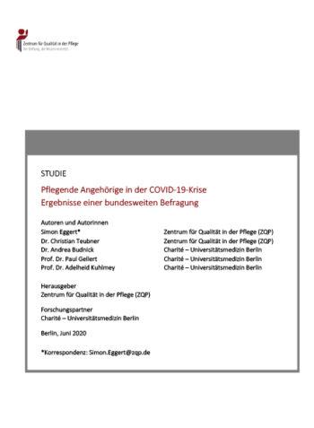 Titelblatt zur Studie Pflegende Angehörige in der COVID-19-Krise