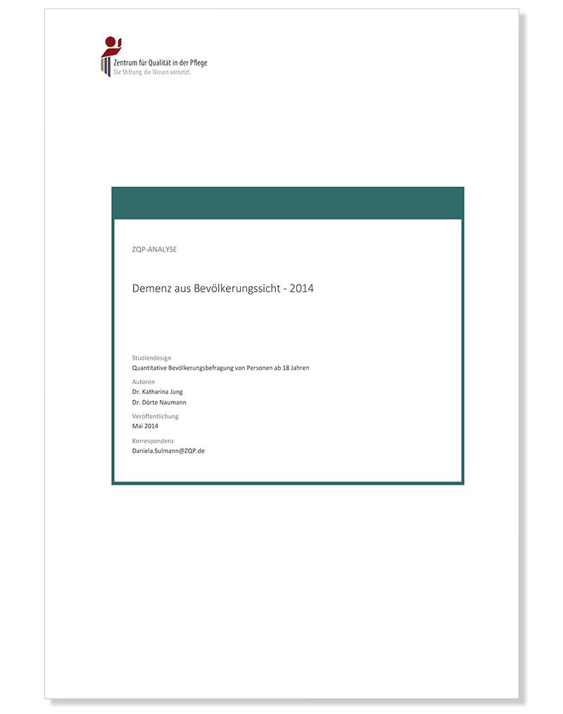 Titelblatt Analyse Demenz aus Bevölkerungssicht - 2014