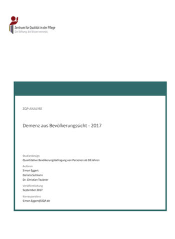 Titelblatt Analyse Demenz aus Bevölkerungssicht 2017