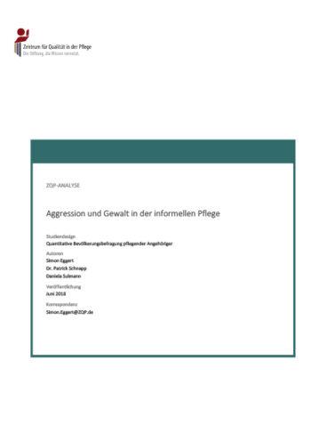 Titelblatt der Analyse Aggression und Gewalt in der informellen Pflege
