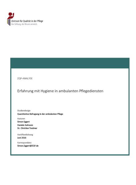 Titelblatt Analyse Erfahrung mit Hygiene in ambulanten Pflegediensten