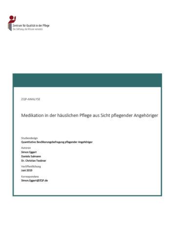 Titelblatt Analyse Medikation in der häuslichen Pflege aus Sicht pflegender Angehöriger