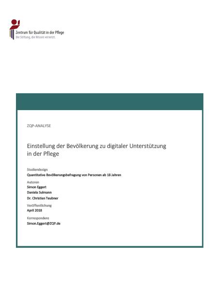Titelblatt der Analyse Einstellung der Bevölkerung zu digitaler Unterstützung in der Pflege