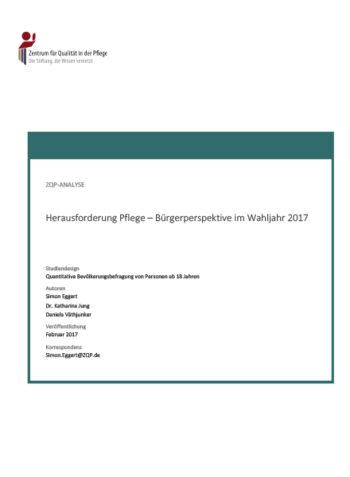 Titelblatt Analyse Herausforderung Pflege - Bürgerperspektive im Wahljahr 2017