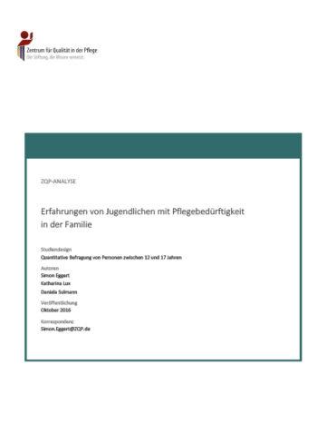 Titelblatt Analyse Erfahrungen von Jugendlichen mit Pflegebedürftigkeit in der Familie