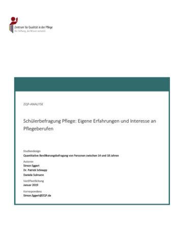 Titelblatt der Analyse Schülerbefragung Pflege - 2019