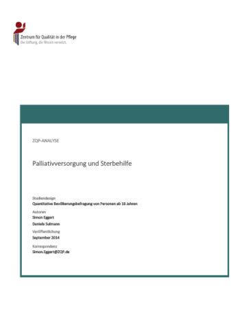 Titelblatt Analyse Palliativversorgung und Sterbehilfe
