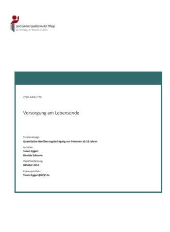 Titelblatt Analyse Versorgung am Lebensende