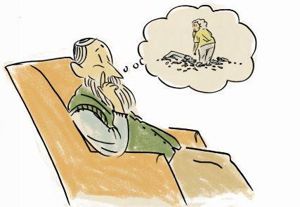 Ein älterer Mann sitzt im Sessel und denkt nach: in einer Denkblase sieht man eine ältere Frau vor einem Haufen Glasscherben stehen.