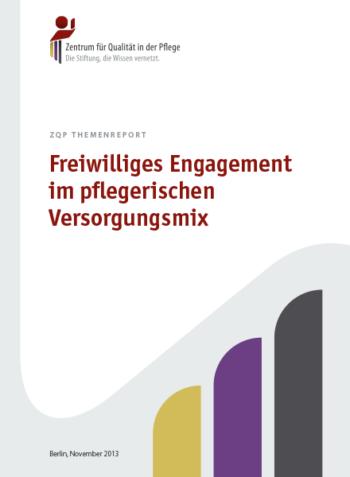 Titelblatt Themenreport Freiwilliges Engagement im pflegerischen Versorgungsmix