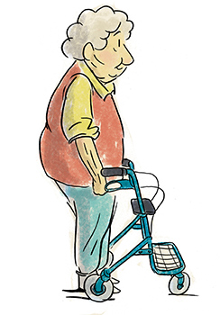 Ältere Frau mit richtiger Körperhaltung am Rollator