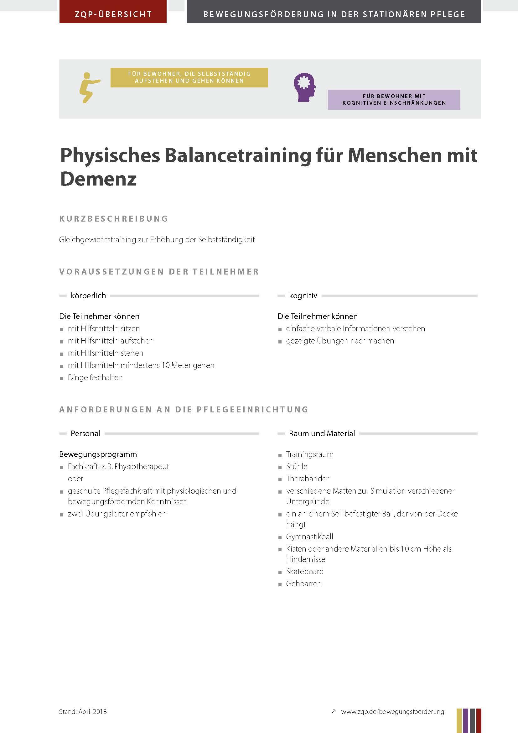 Titelblatt Physisches Balancetraining für Menschen mit Demenz