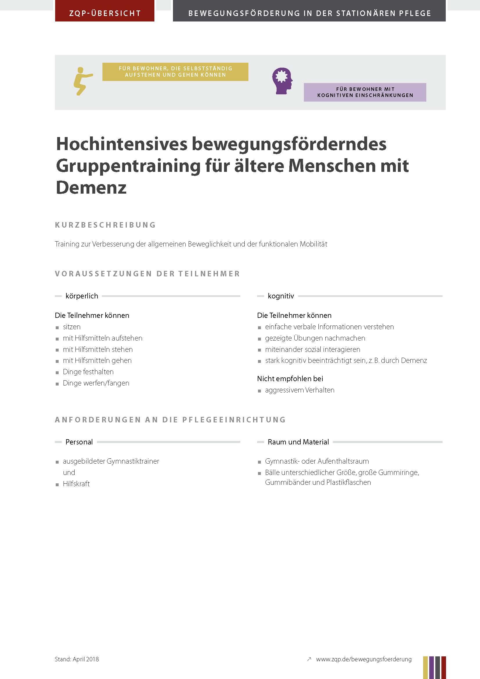 Titelblatt Hochintensives bewegungsförderndes Gruppentraining für ältere Menschen mit Demenz