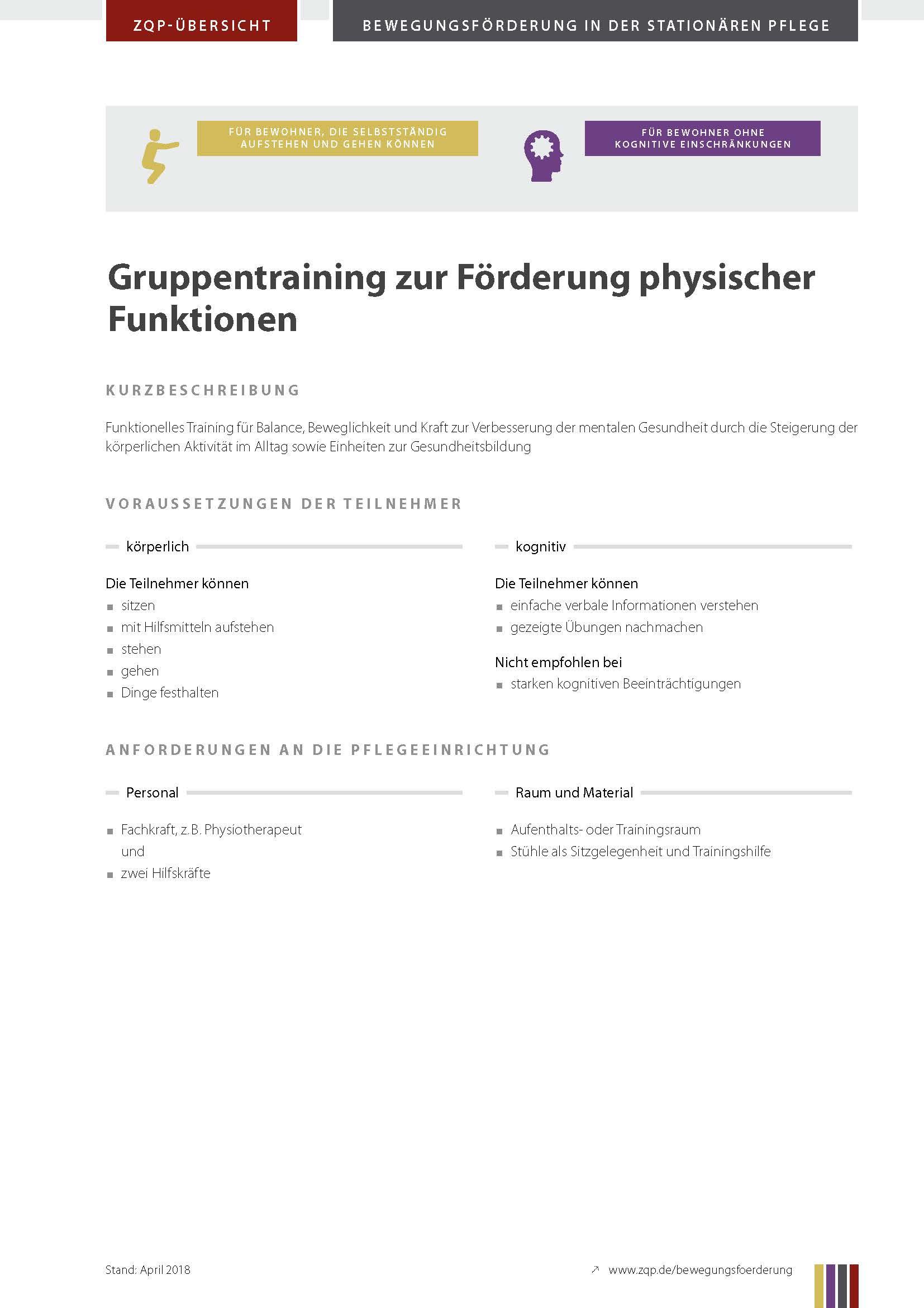 Titelblatt Gruppentraining zur Förderung physischer Funktionen