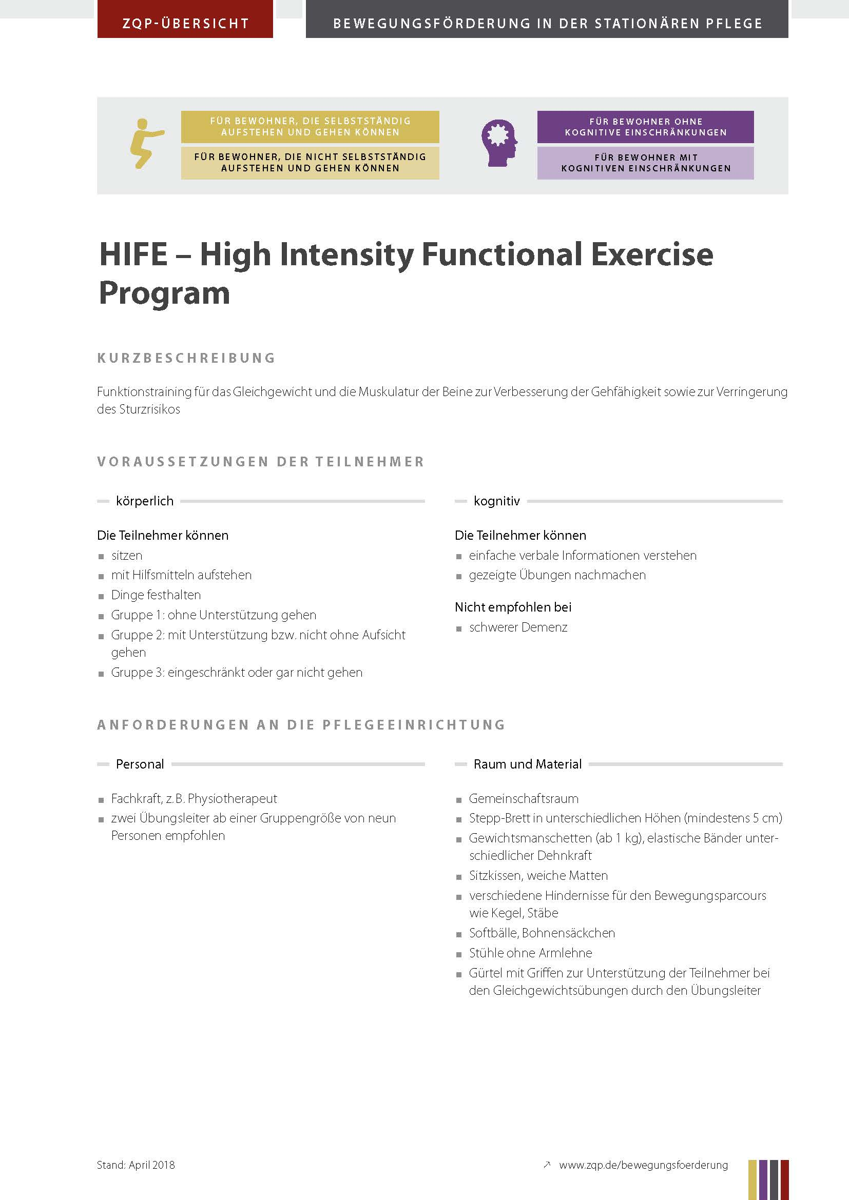Titelblatt High Intensity Functional Exercise Program