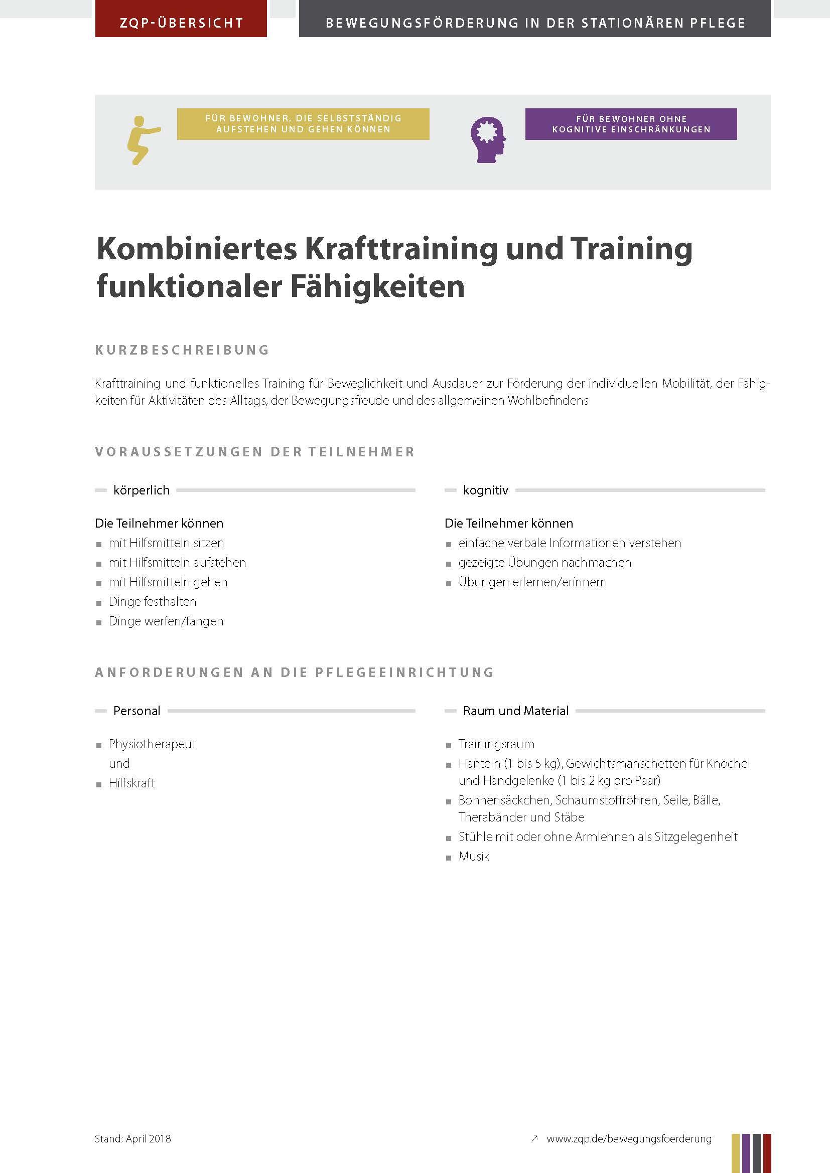Titelblatt Kombiniertes Krafttraining und Training funktionaler Fähigkeiten