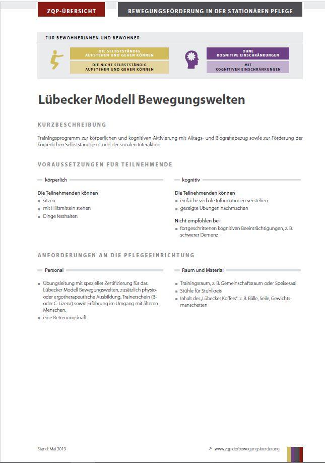 Titelblatt Lübecker Modell Bewegunsgwelten