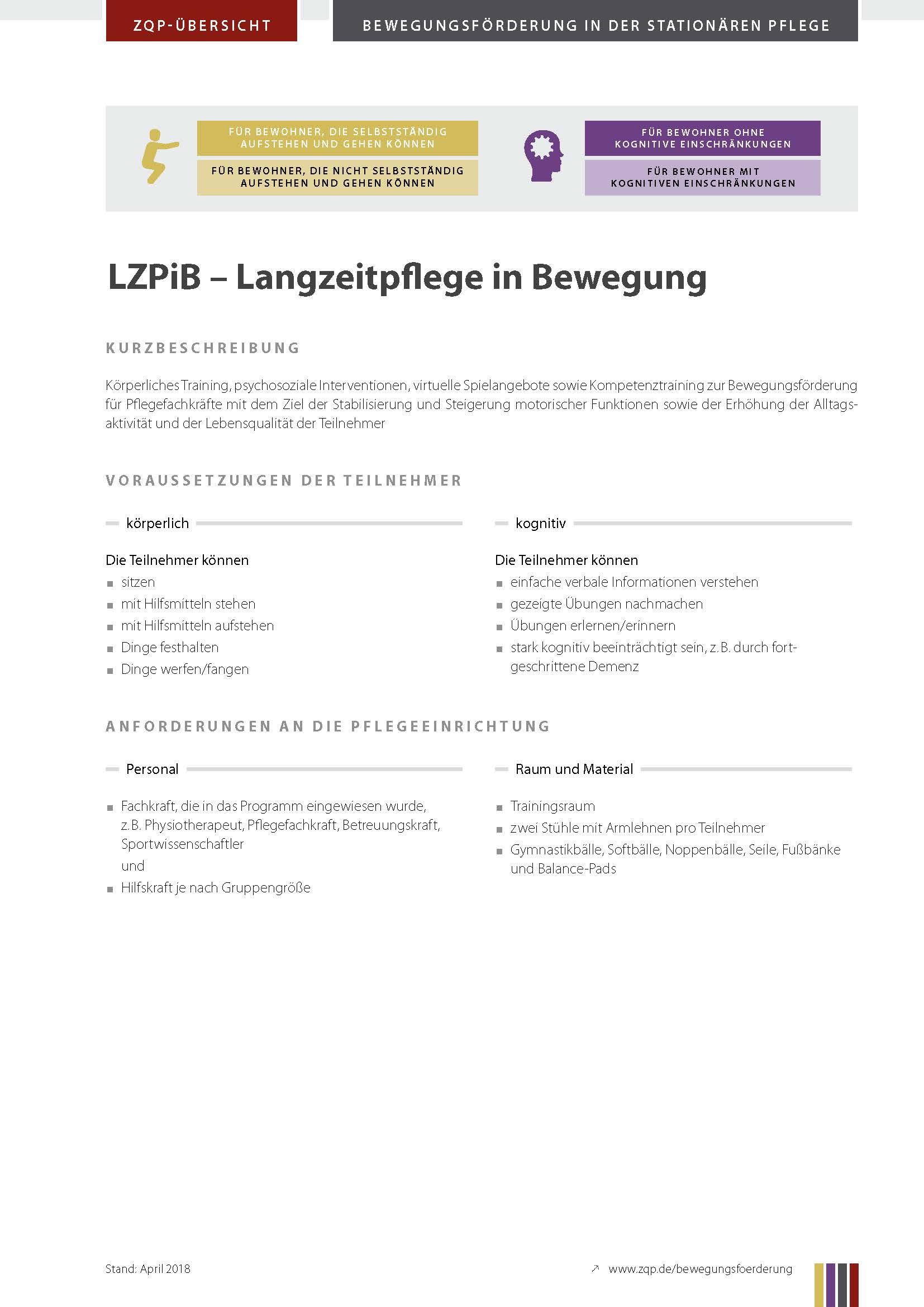 Titelblatt Langzeitpflege in Bewegung