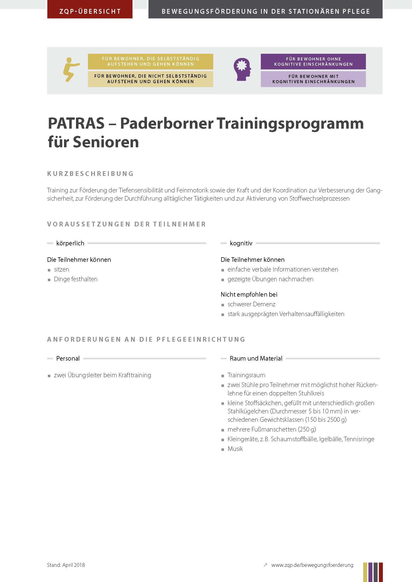 Titelblatt Paderborner Trainingsprogramm für Senioren