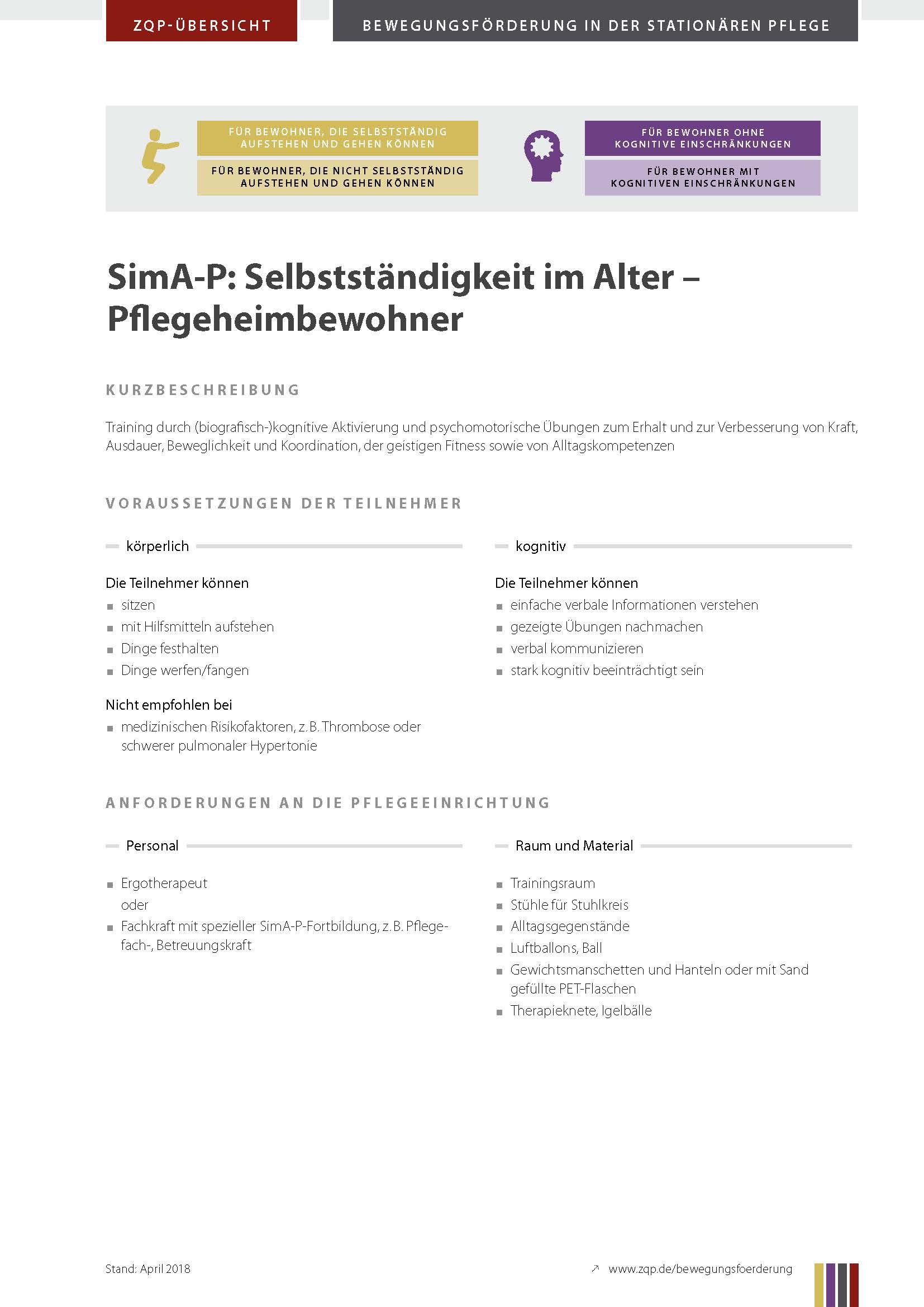Titelblatt Selbstständigkeit im Alter - Pflegeheimbewohner