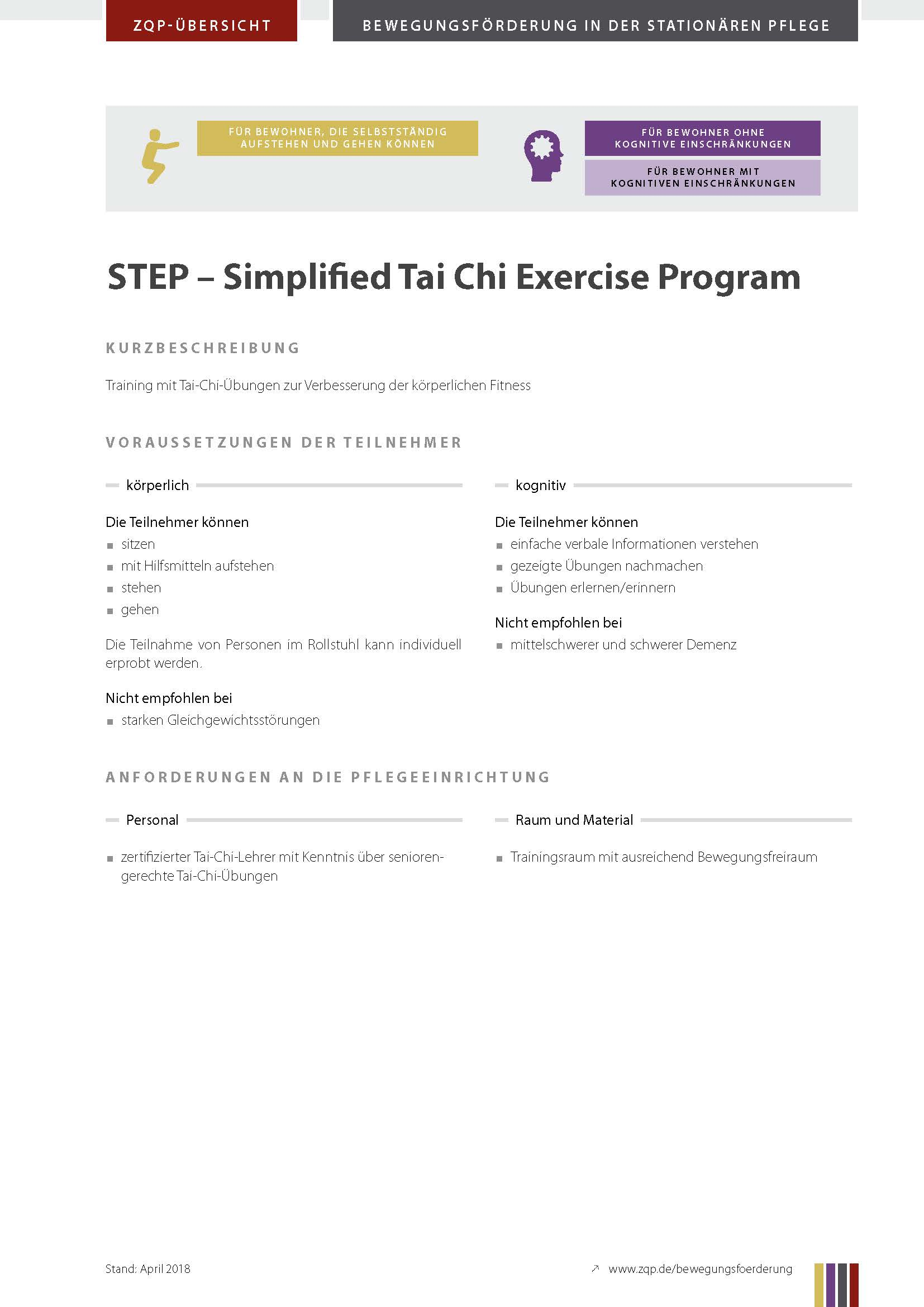 Titelblatt Simplified Tai Chi Exercise Program