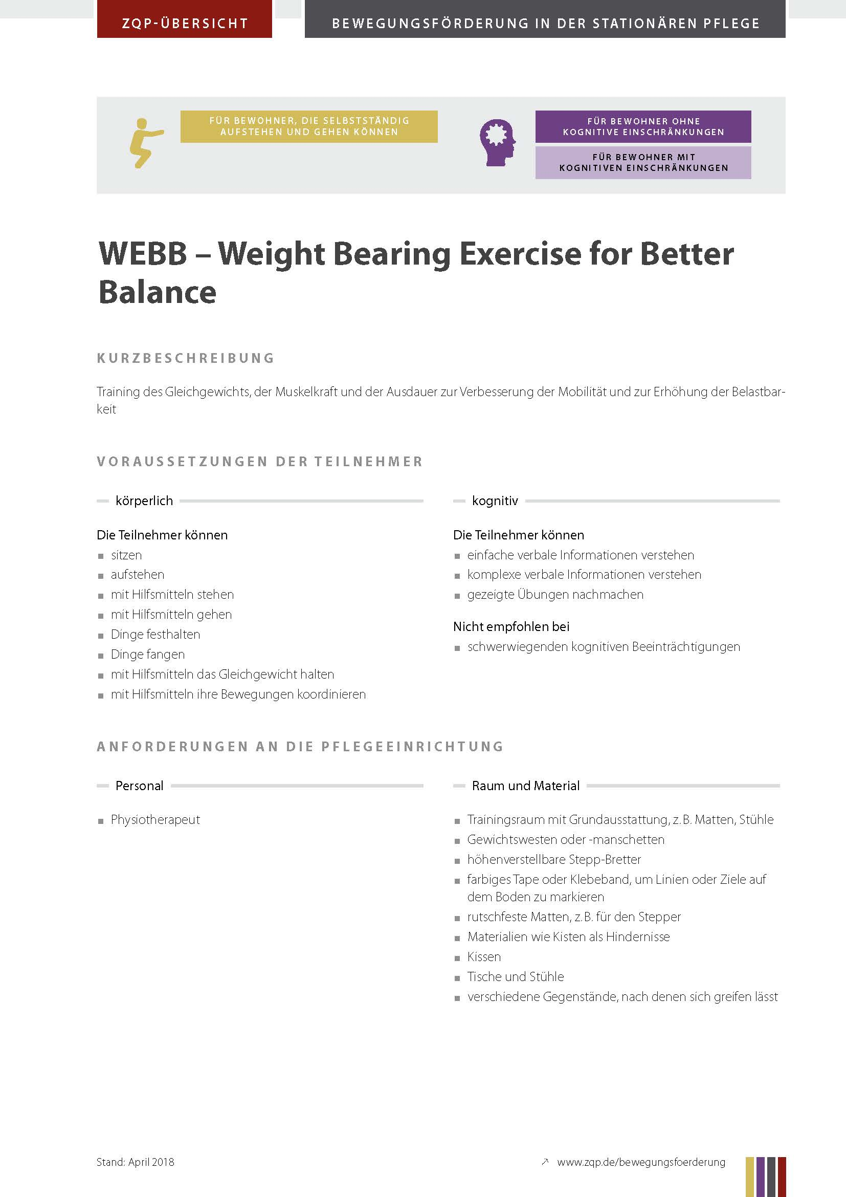 Titelblatt Weight Bearing Excercise for Better Balance