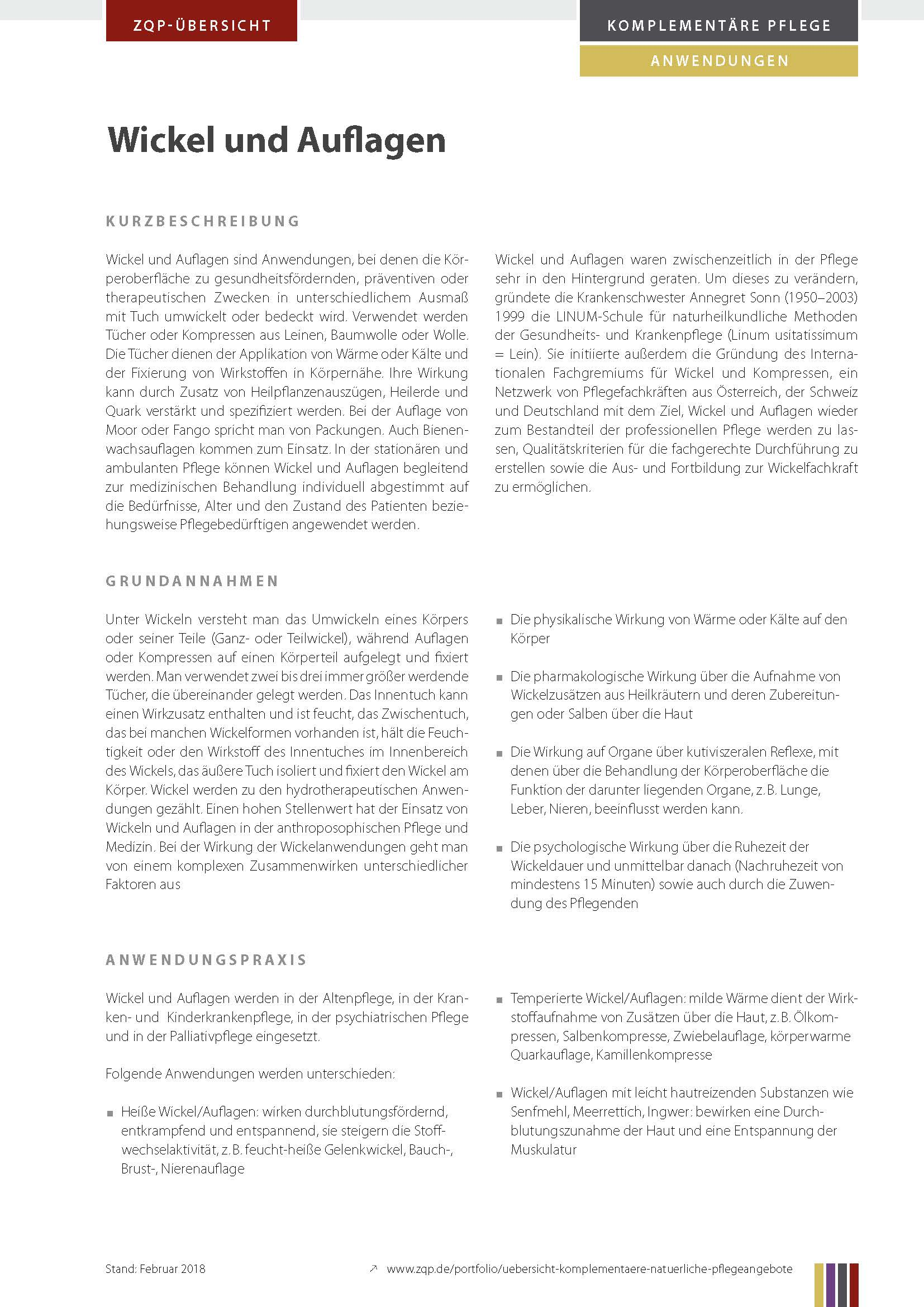 Komplementäre Pflegeanwendungen und -konzepte